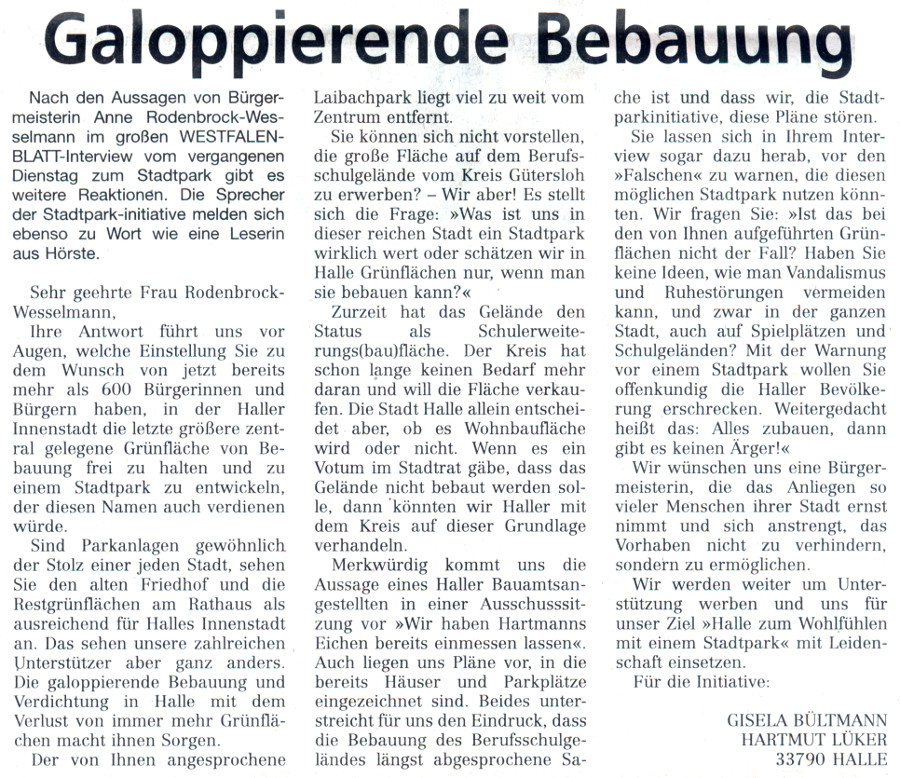 20140523 - WB - Leserbrief - Galopperende Bebauung - 900x