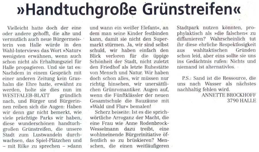 20140523 - WB - Leserbrief - 'Handtuchgroße Grünstreifen' - 900x