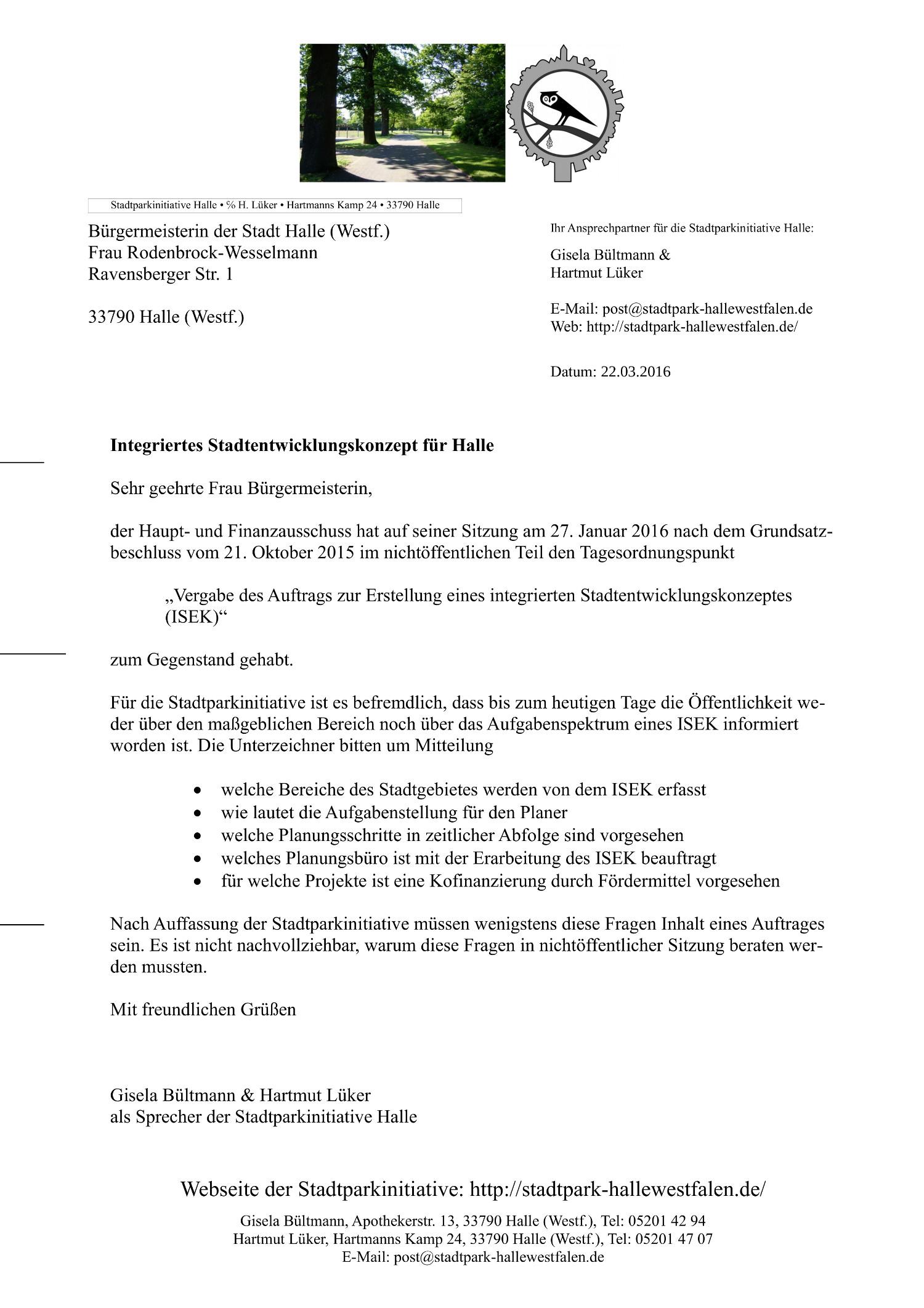 20160322 - Schreiben an die Bürgermeisterin zu ISEK - 1500x